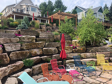 Boulder Retaining Walls & Terraces with Gardens