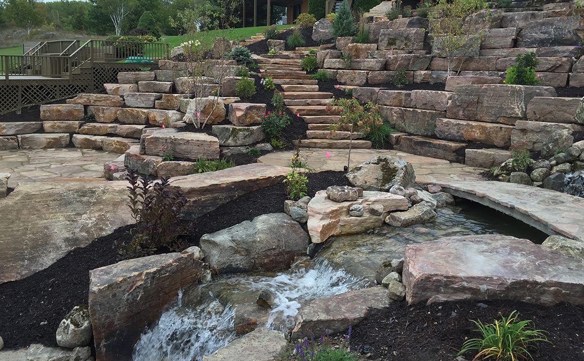 Stone Landscaping and Waterfall