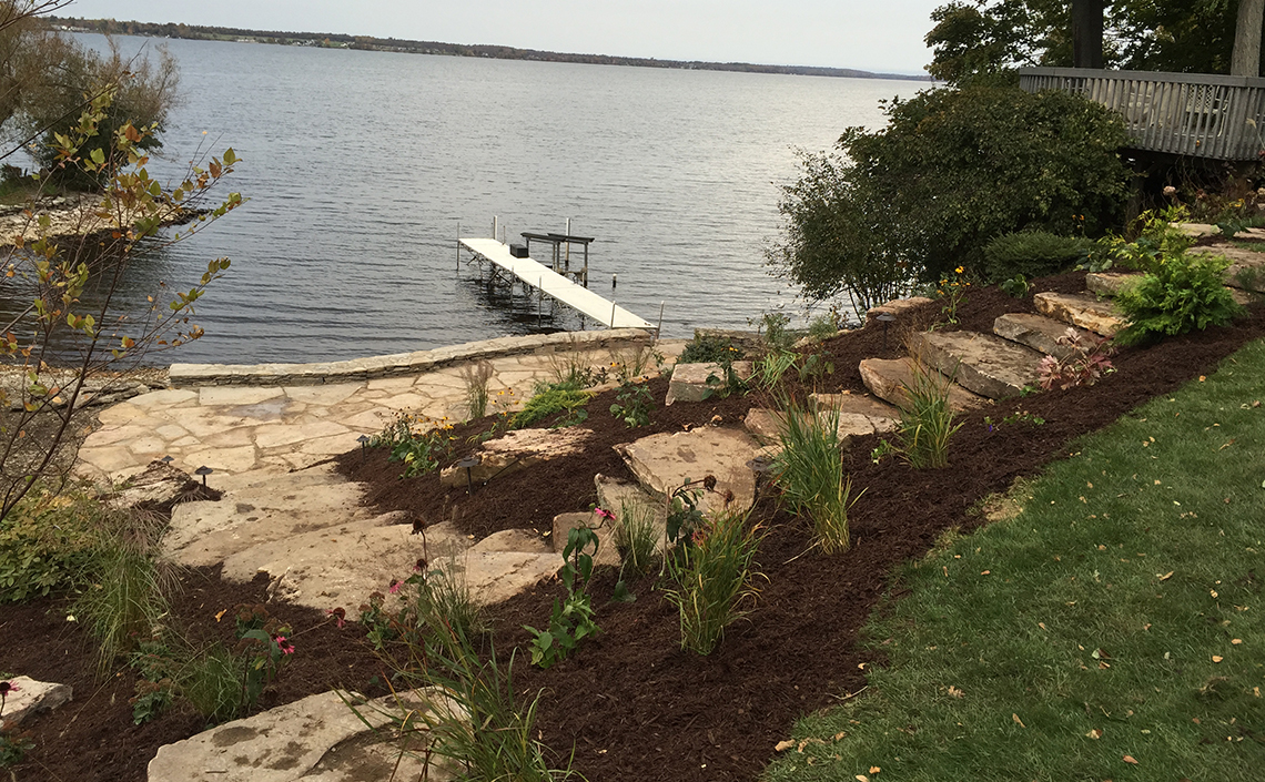 Stone Stairs to Natural Stone Dock