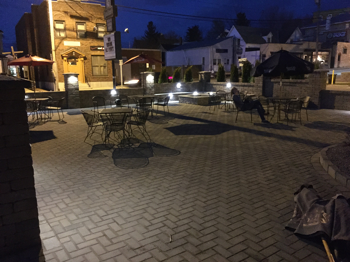 Seating and Lights Are Ready at the New Patio
