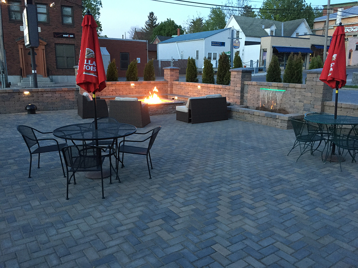 Fire Pit and Waterfall Features on the New Patio