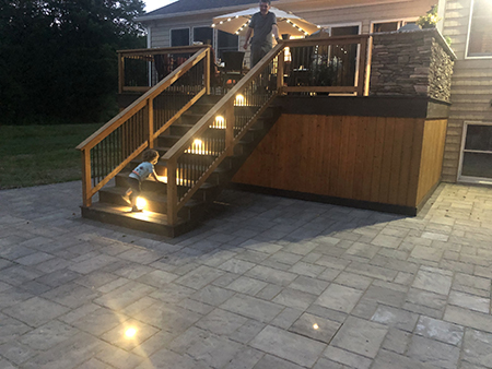 Composite Deck and Stairs with LED Lighting, Outdoor Kitchen and Paver Patio