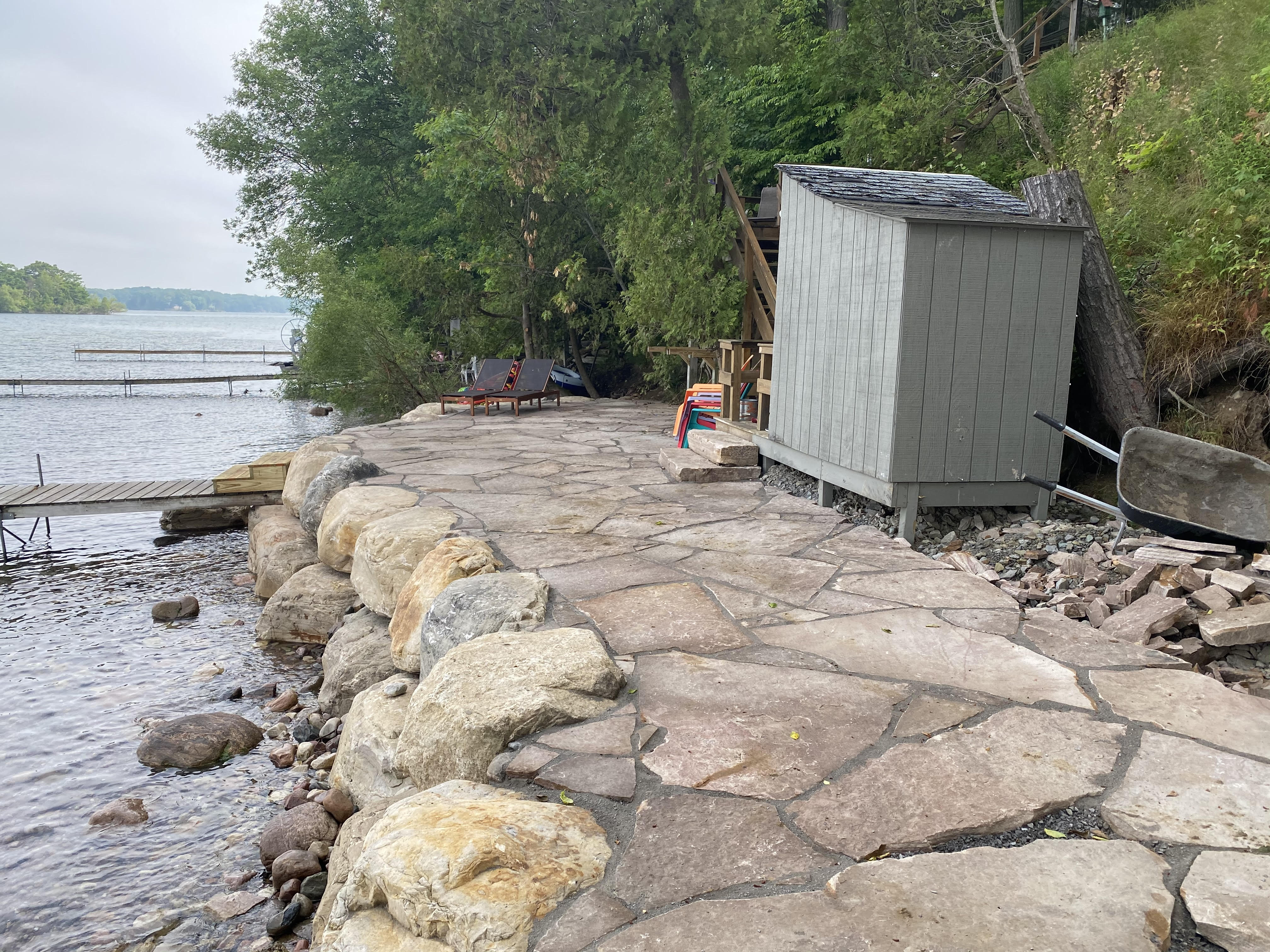 Flagstone Patio and Boulder Seawall