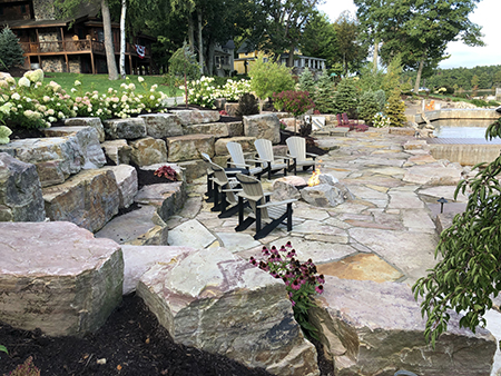Natural Stone Walls and Stairs with Flagstone Patio