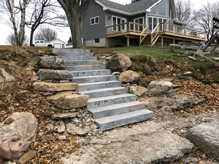 Precast Stairs with Boulder Retaining Support