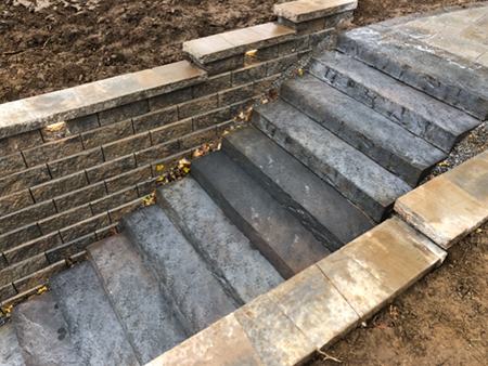 Precast Stairs Recessed into Retaining Walls