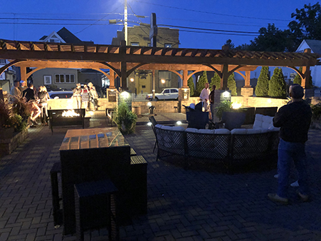 Large Rough Sawn Pergola with Gas Firepits
