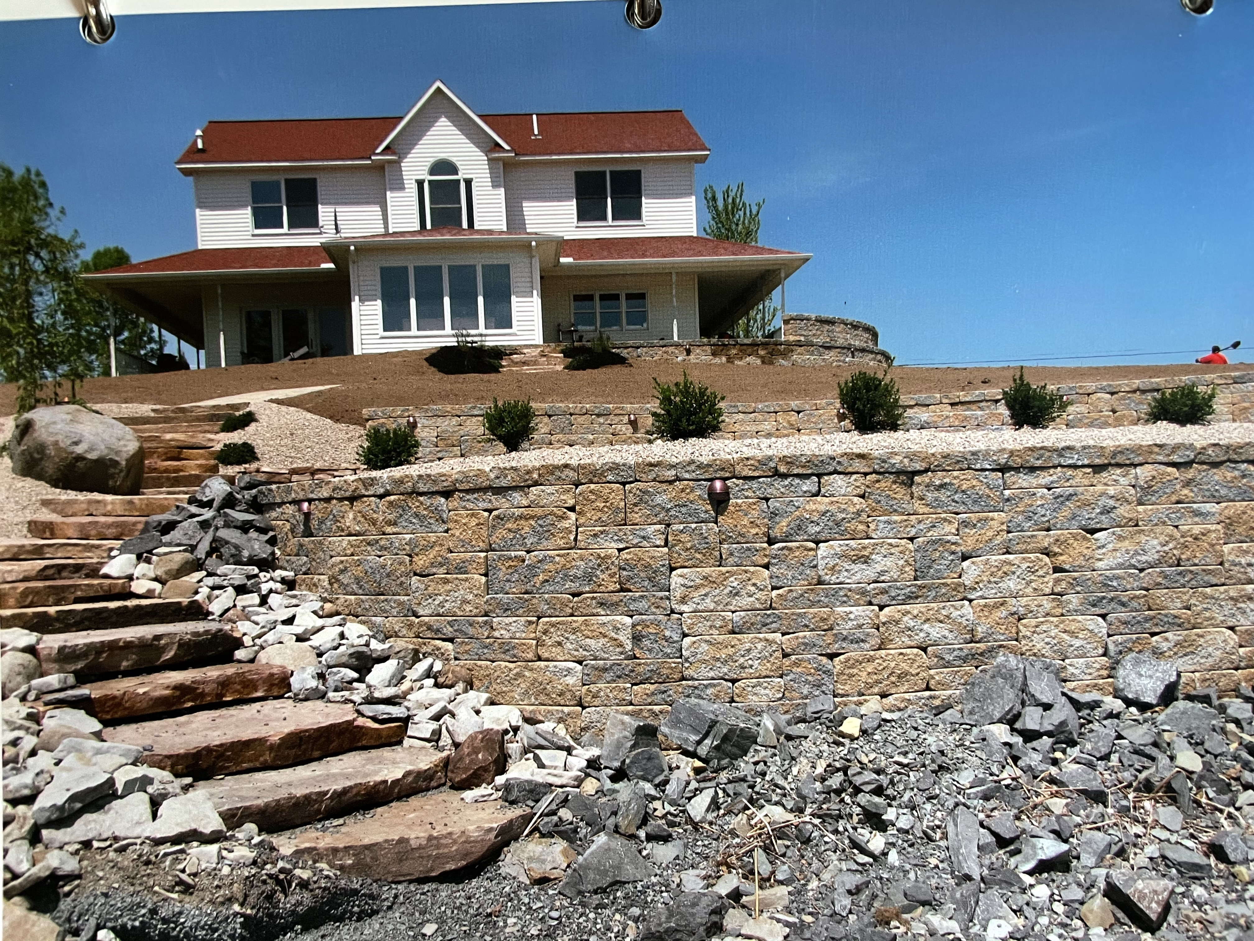 Terraced Retaining Walls with Sandstone Stairs