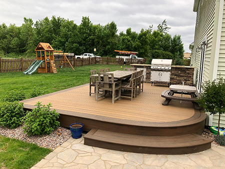 Trex Deck with Outdoor Kitchen and Paver Patio
