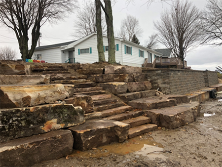 Sandstone Stairs with Boulder Retaining Walls