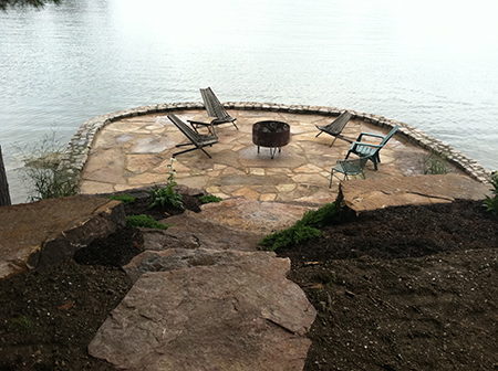 Flagstone Patio Along the St. Lawrence River